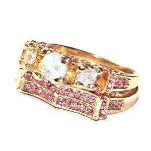 【送料無料】ブレスレット クリスタルローズリング2 bagues couleur or cristal blanc et rose t 56 bijou ring