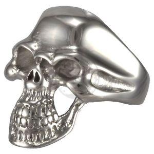 【送料無料】ブレスレット デッドスカルバイカースカルリングステンレススチールmorti cranio ii statement biker skull anello in acciaio inox 316l