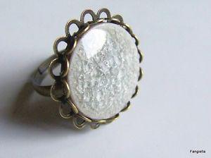 【送料無料】ブレスレット ブロンズbague en porcelaine craquele artisanale grise sur anneau rglable bronze