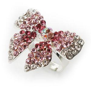 【送料無料】ブレスレット シルバートーンクリスタルタッセルリングピンクsilvertone crystal fiocco anello rosa e trasparente