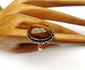 【送料無料】ブレスレット ビンテージシルバーリングリングvintage argento anello con occhio di tigre, argentatiossidati, tg 56 nuovo 519