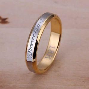【送料無料】ブレスレット リングリングユニオンマルチサイズanello, anello, unione placcato oro 18k inciso forever amare, 4 mm multi taglie