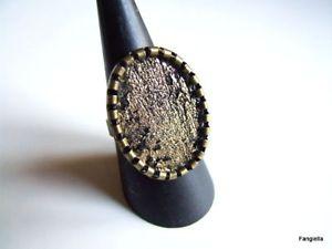 【送料無料】ブレスレット ノワールブロンズbague ovale en cuir dagneau noir dor sur anneau rglable bronze