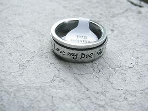 【送料無料】ブレスレット ステンレススチールリングロータリーanello girevole anillo rotativo love my dog in acciaio inox