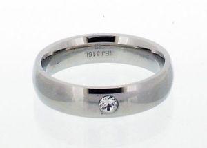 【送料無料】ブレスレット サイズステンレススチールリングacciaio inox lucidato anello con inserto cz in 8 taglie r41