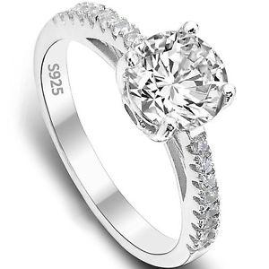 【送料無料】ブレスレット スターリングシルバーリング925 argento sterling 25ct zirconi anello di fidanzamentotaglia o