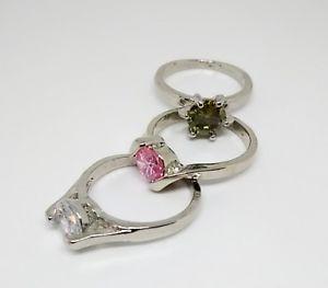 【送料無料】ブレスレット ステンレススチールリングトリスイタリアtris anelli solitari da donna in acciaio inox zirconi misura 18 italiana