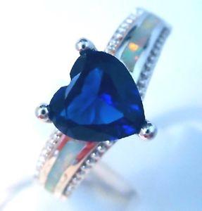 【送料無料】ブレスレット オパールハートリング** uk venditore ** splendida bianco opale di fuocosaphire cuore anello uk k 12