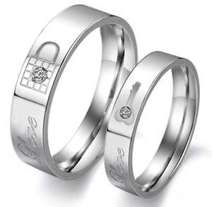【送料無料】ブレスレット リングエンゲージメントステンレススチールリングシルバートルクanello coppia anello di fidanzamento argento forever love amore amicizia in acciaio inox