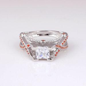 【送料無料】ブレスレット オレンジカットtaglio princess anello di fidanzamento con bianco e arancione gemme zirconi