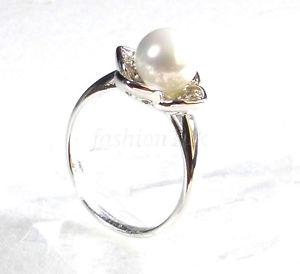 【送料無料】ブレスレット ミリパールサイズle donne placcato in oro bianco 7mm perla fiore anello fidanzamento compleanno xmas dimensioni lmn