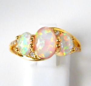 【送料無料】ブレスレット オパールリングアメリカサイズ** ** incredibile oro placcato bianco opale di fuoco anello uk rus taglia 9