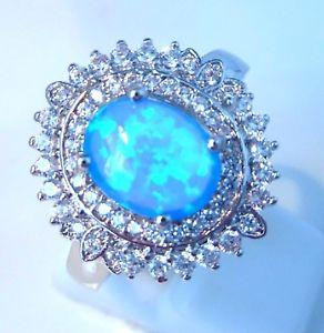 【送料無料】ブレスレット オパールリングサイズカット** nuovo ** splendido ovale blu opale di fuococz ring taglia uk qus taglia 85