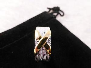 【送料無料】ブレスレット シルバーゴールドメッキ×リングサイズクロスda uomo sorprendente argento e oro placcato x anello croce taglia 8q con sacchetto regalo gratuito