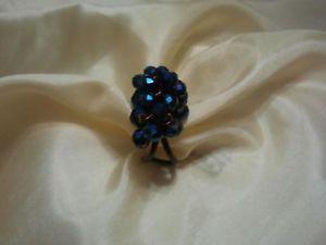 【送料無料】ブレスレット リングanello handmade in rame con mezzi cristalli neri