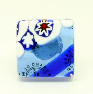 【送料無料】ブレスレット ヴェニスムラノガラスリングblu e bianco murano vetro anello con millefiori da venezia
