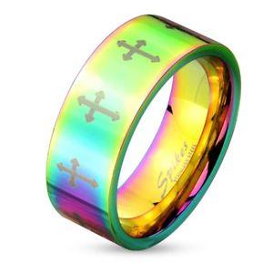 【送料無料】ブレスレット クロスステンレスゲイプライドリングマダムクロスマンリングanello croce colorata in acciaio inox donna uomo persone lgbt gay pride anello signora cross u