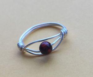 【送料無料】ブレスレット バルトワイヤラップリングシルバーサイズfatto a mano cherry baltic amber filo avvolto anelloargentouk taglia m