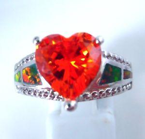 【送料無料】ブレスレット オパールガーネットリングカット** nuovo ** favoloso arcobaleno opale di fuocogranato anello uk ous taglia 75