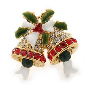 【送料無料】ブレスレット クリスマスジングルベルレッドクリアクリスタルグリーンエナメルリングnatale jingle bells rosso, chiari, cristallo verde, anello smaltato in doratura
