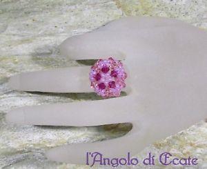 【送料無料】ブレスレット リングピンクスワロフスキービーズidea regalo anello donna artigianale rosa cristalli swarovski perline conteria
