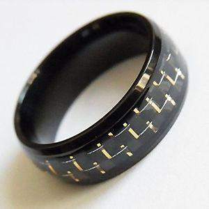 【送料無料】ブレスレット ステンレススチールリングリングanello uomo donna anello in acciaio inox nero gold intarsio ottica carbonio misura 5767