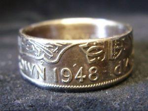 【送料無料】ブレスレット イギリスリングサイズmoneta regno unito fatto a mano anello 1948, taglia s us 12 14, r1051