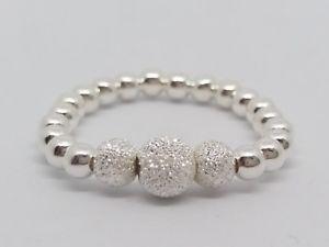 【送料無料】ブレスレット スターリングシルバービーズストレッチリングsterling silver sparkle stretch perline anello impilabile
