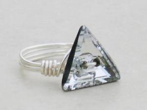 【送料無料】ブレスレット エレメントスワロフスキークリスタルクリスタルクリアワイヤラップリングclear crystal triangolo wire wrap anello realizzati con elementi swarovski crystal