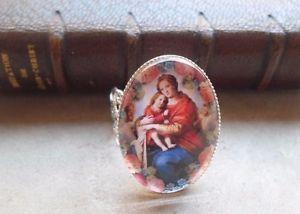 【送料無料】ブレスレット ランファンイエスカボションbague vierge enfant jesus cabochon verre 25 mm x 18 mm anneau filigrane rglable