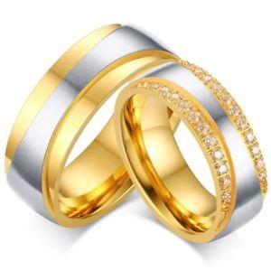 【送料無料】ブレスレット ユニオンスチールリングジルコニウムunione anello acciaio placcato oro giallo zirconio strass matrimonio