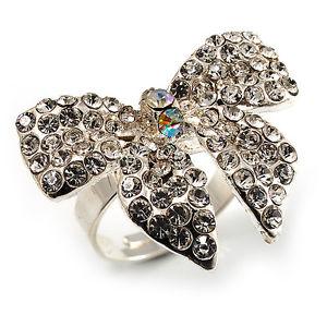 【送料無料】ブレスレット シルバートーンクリスタルタッセルリングsilvertone clear crystal fiocco anello