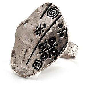 【送料無料】ブレスレット ビンテージリングプレートシルバーvintage geroglifico martellato anello piastra burn tono argento