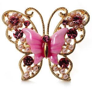 【送料無料】ブレスレット ピンクエナメルリングトーンゴールドgrande rosa brillante smalto farfalla anello tono oro