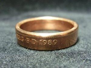 【送料無料】ブレスレット リングハンドイギリスサイズアメリカanello fatto a mano moneta regno unitotaglia 1989, 9 34 t usa, r813