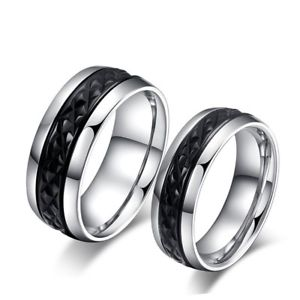 【送料無料】ブレスレット ユニオンリングステンレススチールブラックチタンunione anello cesellato acciaio inossidabile nero titanio uomo donna matrimonio