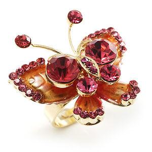 【送料無料】ブレスレット スロットルクリスタルリングゴールドピンク3d cristallo farfalla anello oro amp; rosa