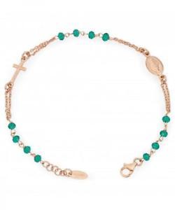 【送料無料】ブレスレット ブレスレットシルバーアーメンbracciale rosario amen in argento 925‰ rosato con cristalli verdi brorv3
