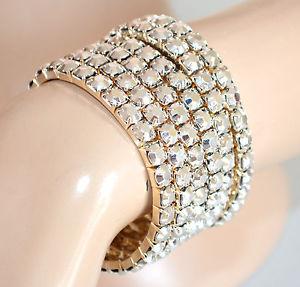 【送料無料】ブレスレット カフシルバーゴールドブレスレットセットbracciale argento oro donna set 6 braccialetti a molla cristalli pulsera 805