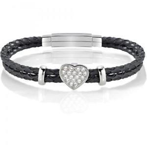 【送料無料】ブレスレット セクターブレスレットシックsector braccialetto femminile love cuoio nero sado25 brillantini elegante chic