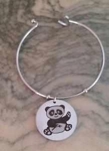 【送料無料】ブレスレット メタルブレスレットスチールペンダントパンダブレスレットbracciale rigido donna acciaio ciondoli orso panda charm ragazza braccialetto