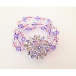 【送料無料】ブレスレット クリスタルライラックピンクキャップブレスレットbracciale in cristallo nei colori lilla, rosa, trasparente e chiusura con fiore