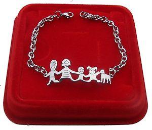 【送料無料】ブレスレット スチール+カフブレスレットファミリ bracciale braccialetto famiglia in acciaio mamma pap 2 bambini cane