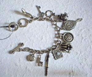 【超ポイント祭?期間限定】 【送料無料】ブレスレット ブレスレットチェーンブレスレットbracciale donna catena ottone anticato 11 charms vestibilita 1719 cm bracelet, ANTELOPE 60e675b9