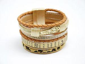 【送料無料】ブレスレット ブレスレットマンシェットモードファムベージュbc744 * bracelet manchette cuir imprim tresse aile lopard mode femme beige