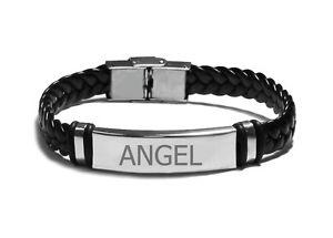 【送料無料】ブレスレット ブレスレットカフクリスマスnome braccialetto angelda uomo in cuoio intrecciato inciso braccialenatale