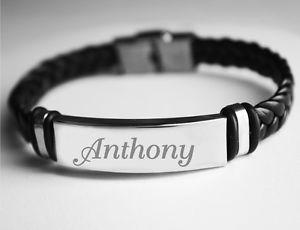 【送料無料】ブレスレット ブレスレットアンソニーカフアクセサリnome braccialetto anthonyda uomo in cuoio intrecciato incisi braccialeaccessori
