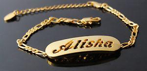 【送料無料】ブレスレット ブレスレットnome braccialetto alisha 18ct placcato oro compleanno matrimonio damigelle regali per lei