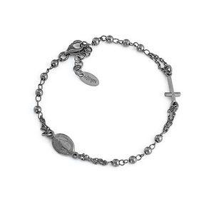 【送料無料】ブレスレット カフアーメンクラシックブロンbracciale amen classico bron3 brunito nero argento 925 scuro rosario religioso