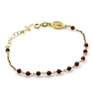 【送料無料】ブレスレット ブレスレットbracciale rosario in argento dorato postine rosse bcc1175